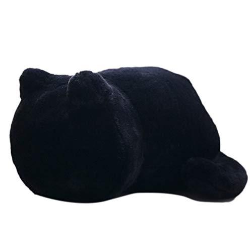 Knuffel, Zachte Kat Pluche Kussens Kussen Comfortabel Kussen Katvorm Gevuld Dier Kussen Kussen Speelgoed 33cm zwart