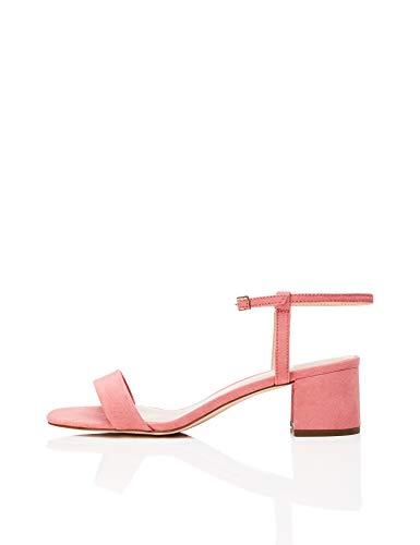 Marca Amazon - find. Block Heel Ankle Strap - Sandalias con punta abierta Mujer