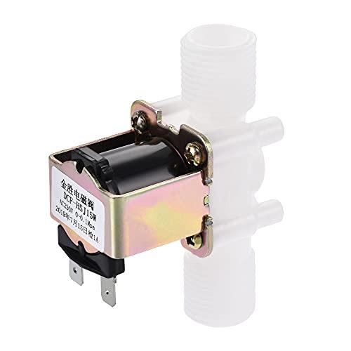 sourcing map AC220V G1/2 x 20mm Rosca Plástico Agua Eléctrica Solenoide Válvula Normalmente Cerrada N/C Agua Entrada Flujo Interruptor