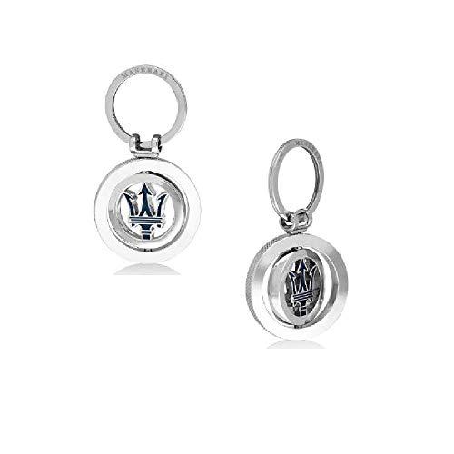 MASERATI Original Schlüsselanhänger Tridente Silber blau