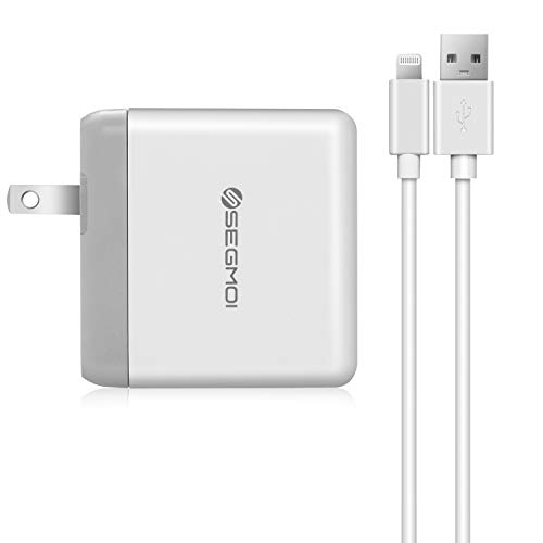 2in1 [ Apple MFi Certified ] 3Meters/10Ft Lightning Cable/Cord + Dual Port USB Wall Plug Charger Block/Charging Cube/Power Brick Adapter for iPhone Xs XR X 8 Plus 7 6s 6 5 5s 5C SE iPad Air Pro Mini