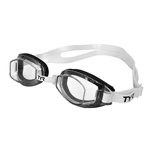 TYR Team Sprint Occhialino Da Nuoto Per Allenamento, Unisex – Adulto, Chiaro/Nero/Bianco, M