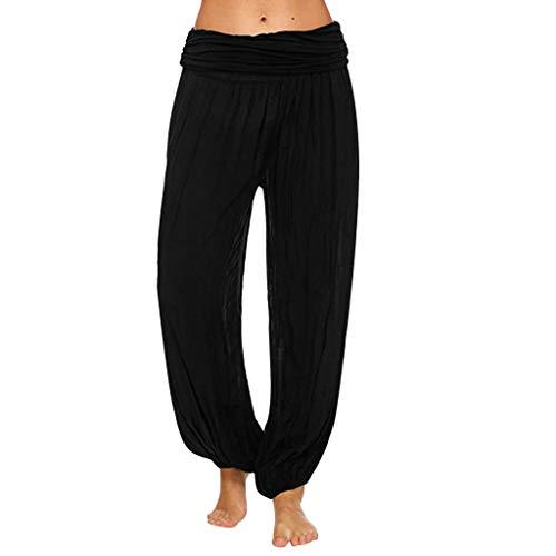 KUDICO Damen Hose Einfarbig Höhe Taille Yoga Fitness Freizeit Locker Harem Hosen Laufhose Stretch Sport Trainieren Freizeithose(Schwarz, XXXX-Large)