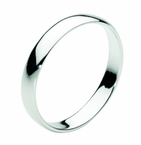 Dew Sterling Silver 3 mm D Section Plain Band Ring - Size - N