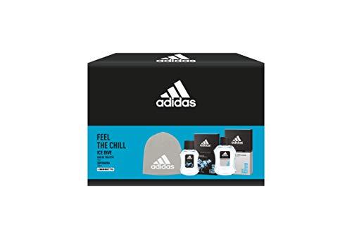 Adidas, Confezione Regalo Uomo Ice Dive, Eau de Toilette 50 ml, Dopobarba 100 ml e Berretto di Lana