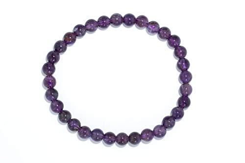 Taddart Minerals - Pulsera púrpura de piedra preciosa natural amatista con bolas de 6 mm colocadas en hilo de nailon elástico - Hecha a mano.