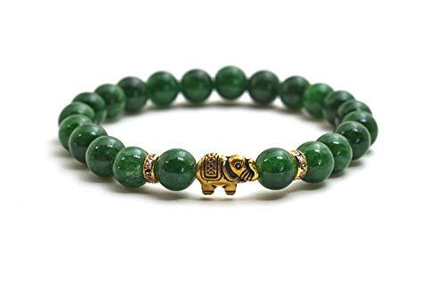 Elefanten Jade Armband mit Naturstein Perlen und Kristall Highlights – BERGERLIN Feel Goods