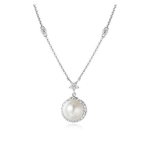 LFNSTXT Perla Natural Cubic Zircon Collares Pendientes 925 Cadena De Plata Esterlina Mujer Joyería 40Cm