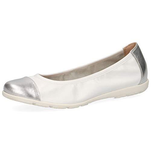 CAPRICE Damen Ballerinas 22152-24, Frauen Klassische Ballerinas, feminin elegant Women's Women Woman Freizeit leger Flats,White/Silver,39 EU / 6 UK