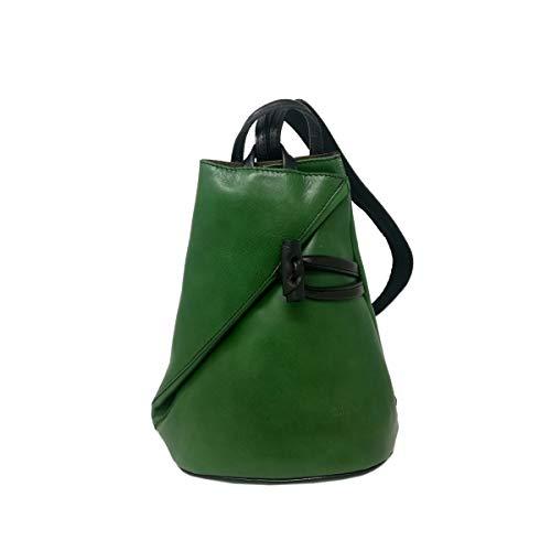 Zaino In Vera Pelle Per Donna Con Bretelle A Cerniera Colore Verde - Pelletteria Toscana Made In Italy - Zaino