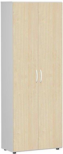 Flügeltürenschrank, Büroschrank aus Holz, mit Standfüßen, inkl. Türdämpfer, nicht abschließbar, 800x420x2160, Ahorn/Lichtgrau, Geramöbel