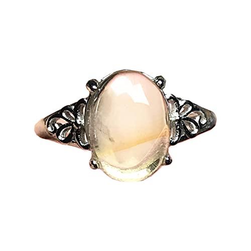 DUOVEKT Anillo de citrino amarillo natural, anillo de cristal citrino para mujer, hombre, señora, joyería citrina, cuentas ovaladas de cuarzo, anillo ajustable AAAAA 11 x 8 mm