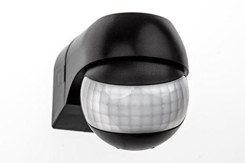 HUBER Motion 3 Compact Infrarot Bewegungsmelder 180° Innen/Außen Bewegungssensor IP44 I 230V Bewegungsmelder LED geeignet, horizontal/vertikal verstellbar, schwarz