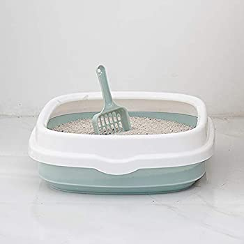 Boîtes à Litière pour Chats avec Pelle, Maison de Toilette Anti-éclaboussures pour Chat, Faciles à Nettoyer, Plastique, 40cm x 33.5cm x 12cm Grey S