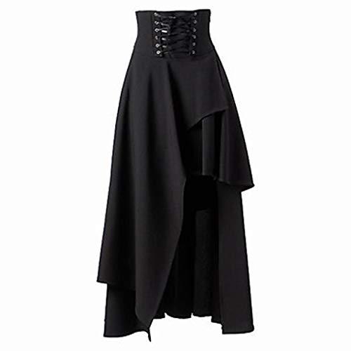 TUDUZ Falda De Cintura Alta para Mujer Faldas Largas Elegantes De Color Sólido Primavera Verano Falda Larga(V Negro,L)
