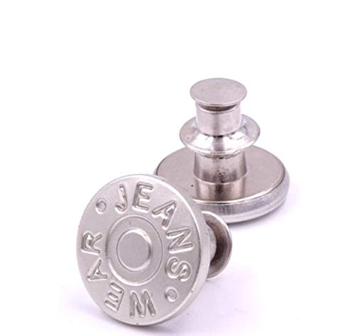 TRAINSTOO 12 botones de jeans, botones universales sin clavos, botones ajustables y extraíbles, botones de metal para clavos, fácil de instalar sin herramientas.