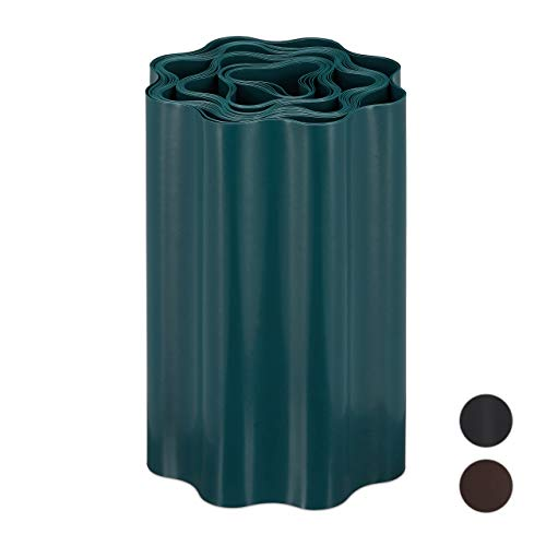 Relaxdays Flexible Rasenkante, wellige Beeteinfassung aus Kunststoff, Umrandung für Rasen & Beet, HT: 20 x 900 cm, grün