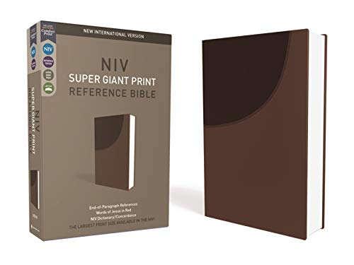 NIV, Super Giant Print Reference Bible, Leathersoft, Brown, Red Letter, Comfort Print