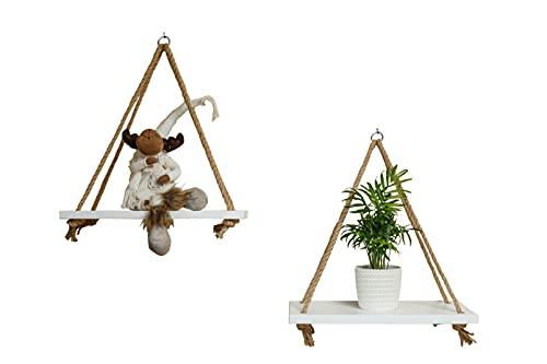 2 estanterías de madera para colgar en la pared, color blanco, con cuerda, para colgar en la pared, con cuerda de yute (2 unidades)