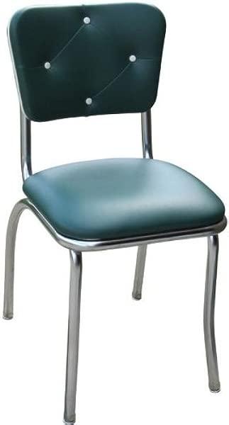 理查森座椅绿色纽扣簇绒复古厨房椅子带 1 个拉座 18