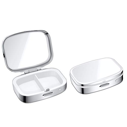 kwmobile 2x Edelstahl Pillendose mit 2 Fächern - 5,5 x 4 x 1,5cm - Tablettendose Box - Edelstahlpillendose - Dose in Silber