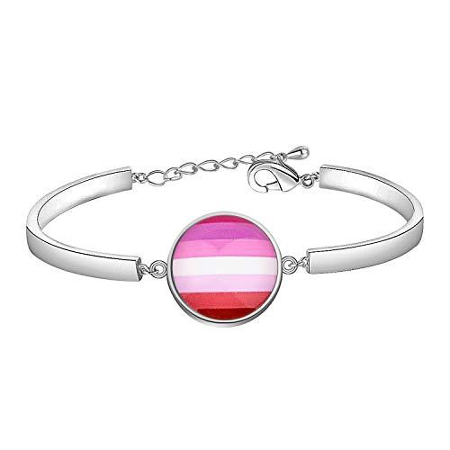 CHOORO LGBT Bracelet Rainbow Gay & Lesbian Pride Bracelet Bisexual Pride Bracelet Transgender Pride Bracelet LGBT Jewelry Gift (LipstickLesbian br)