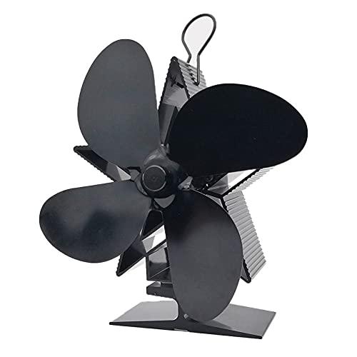 Soplador de chimenea Cálculo de la estufa eléctrica Ventilador negro Chimenea 4 cuchillas Silent Hogar Chimenea Ventilador Distribución de calor Distribución de calor Fuente de estufa de calor Fuelles