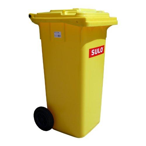 SULO 120 Liter Gelbe Tonne Müllbehälter Mülltonne Abfalltonne | Gelb | Für alle DIN-Klammschüttungen | Made in Germany | Extra Starker Kunststoff | Leise Vollgummiräder | Leicht zu Reinigen | UV-Fest | Rost Fest | Verrottungsfest