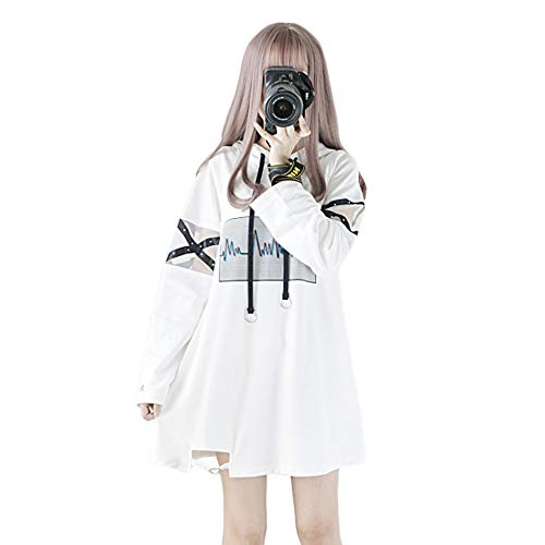 Himifashion Frauen Hoodies Harajuku Schwarz Lange Hoodie Kleid Baumwolle für Damen (L, White)