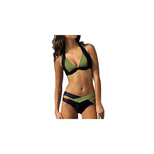 Kfhfhsdgsansyz Bañadores Mujer, Bikinis Mujeres Dos Piezas Altas Cintura V Cuello Bikini Set Traje de baño Traje de baño Mujer Sexy Bikini Set (Color : Green, Size : S)