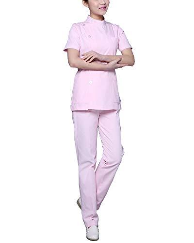 ShiFanA Abbigliamento Medico Donna Divise da Lavoro Complete Infermiere Casacca + Pantalone Pink S