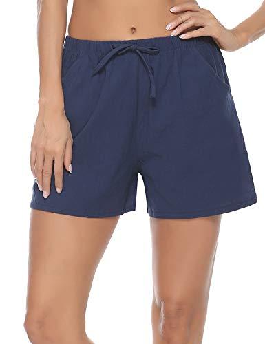 Pollara Pantalones de pijama cortos de lino para mujer, de algodón, pantalones cortos azul oscuro L
