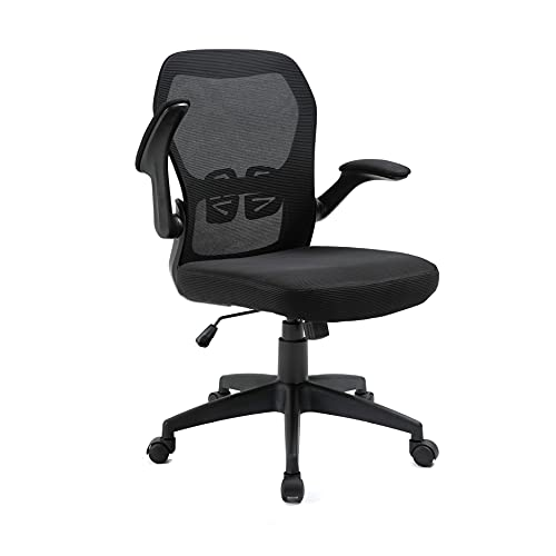 Office Masters Office Chair - Ergonomic Swivel, Folding Arm Rests - Adjustable Height & Mesh Back for Posture & Lumbar Support - Heavy-Duty Computer Desk Seat for Home, Work & Gaming (Black)