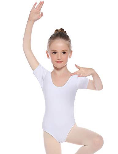 Hawiton Mädchen Ballettkleidung Ballettkleid Kinder Kurz Ballettanzug Rundem Ausschnitt Gymnastik Tanz-Body Tanzbody mit Rock Tütü