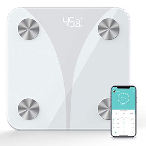 体重計 体組成計 体脂肪 高精度 カロリー測定可能 ボディスケール スマートスケール 体重/基礎代謝量/脂肪率/内蔵脂肪/体脂肪率測定可能 Bluetooth対応 iOS/Androidアプリで健康管理