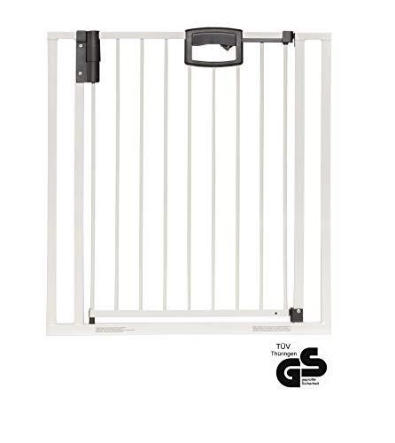 Geuther - Tür- und Treppenschutzgitter ohne Bohren Easylock 4792+, für Kinder und Hunde, zum klemmen, Metall, 80,5 - 88,5 cm, weiß/silber