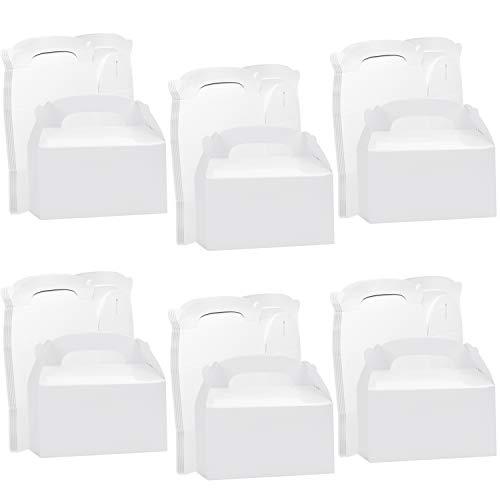 Belle Vous Cajas Kraft Blancas para Fiestas (Pack de 24) 16 x 9,3 x 8,6 cm – Cajas Lisas para Cumpleaños de Niños y Niñas, Alimentos, Baby Shower y Bodas - Cajas para Dulces