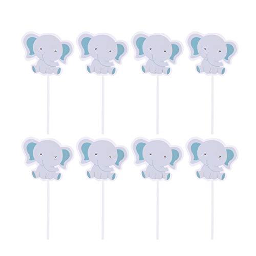 Nuobesty 48pcs Elefant Topper Baby Shower Tortendeko Elefant Grau Cupcake Topper für Baby Boy Dusche Party Geburtstag