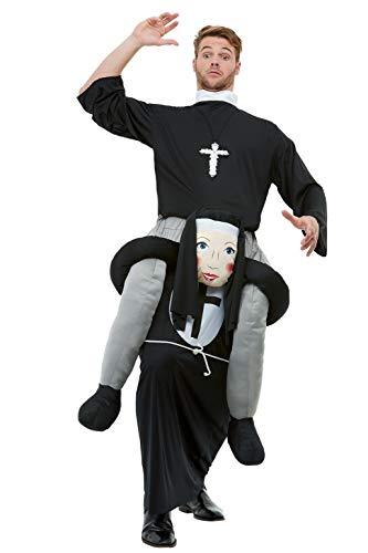 Smiffys 50783 Piggyback Nun kostuum, Mannen, Zwart, One Size
