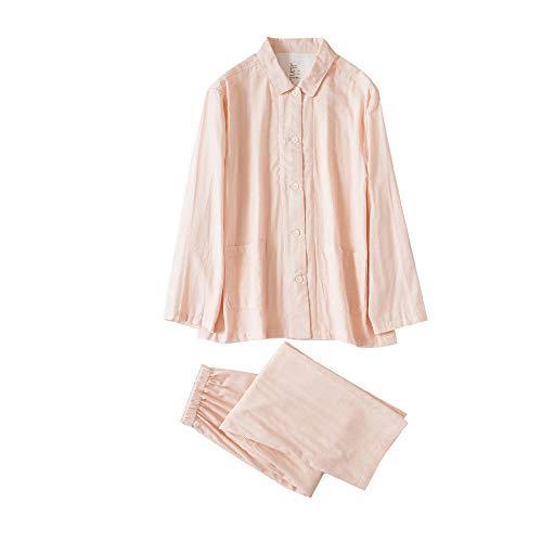 HaHei Zweilagiges Garn-Pyjama-Set für den Heimgebrauch, langärmliger Pyjama für Baumwollliebhaber ohne Seitennähte