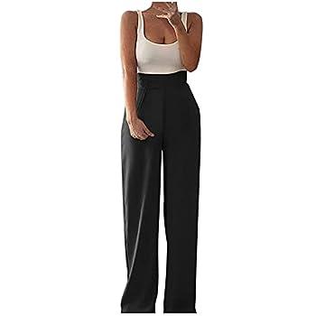 Womens Loose Solid Color Round Neck Sleeveless Vest Patchwork Jumpsuit Long Wide Leg Romper