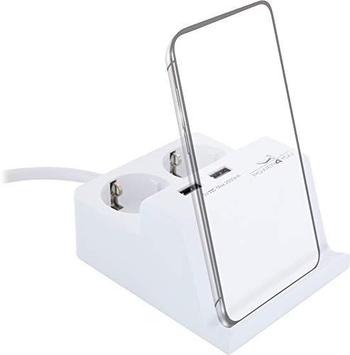 SCHWAIGER -661545- USB Enchufe de corriente de escritorio Enchufe múltiple doble Soporte para Smartphone de mesa Estación de carga de oficina Cable blanco Cable de extensión de 1,5 m