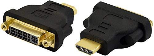 ADWITS Adaptador DVI a HDMI, [2 Paquetes] DVI bidireccional 24+5 Pines (DVI-I) Hembra a HDMI Convertidor Macho Chapado en Oro, Soporte 1080P Full HD