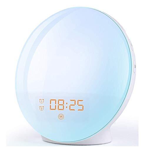 Wake Up Licht Lichtwecker, Sonnenaufgang Sonnenuntergang Simulation Wecker für Baby mit zwei Alarmen LED 7 Alarm Töne 20 Helligkeit UKW-Radio 16Volumen