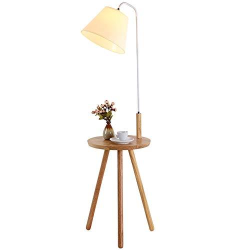 GonFan Moderne houten vloerlamp met ingebouwde tabel voor schaaltjes en boeken-vloerlamp - Fashion Home Decoration Light