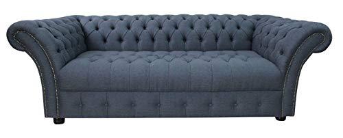 Sofas4u Chesterfield UK Balmoral de 3 plazas Hecho a Mano con Botones, sofá de 3 plazas, Color Azul Marino