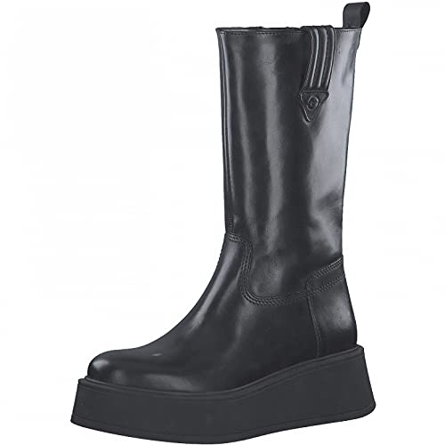 Tamaris Damen Stiefel, Frauen Plateaustiefel,TOUCHit-Fußbett,Plateau-Boots,Plateausohle,lederstiefel,Winterstiefel,Black Leather,38 EU / 5 UK