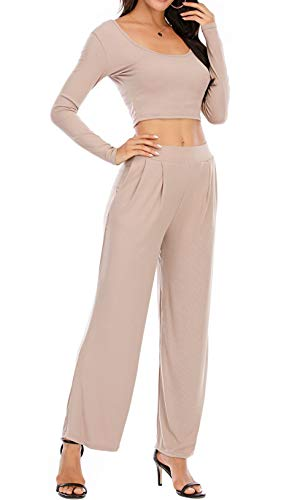 Completo da Donna Casual Slim per Yoga Ginnastica Indumenti da Casa 2 Pezzi Top a Maniche Lunghe Pantaloni Lunghi Sciolti in Tinta Unita (Marrone Chiaro, L)