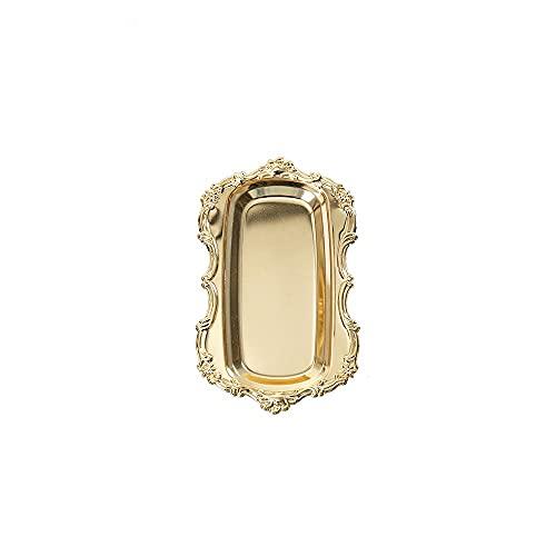 Gisela - Bandeja de acero inoxidable tallada vintage para joyas, organizador de platos, soporte para anillos, cosméticos y frutas (oro, rectángulo elíptico)