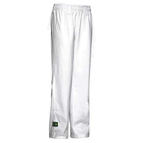 JLSPORT Authentische Brasilianische Capoeira Kampfsport Hose Unisex/Kinder (Weiß) - 9-10